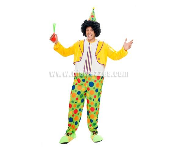 Disfraz de Payaso Aro Adulto barato para hombre. Talla XL = 54/58. Incluye mono con aro y sombrero. Peluca, bocina y zapatones NO incluidos, podrás verlos en la sección de Complementos.