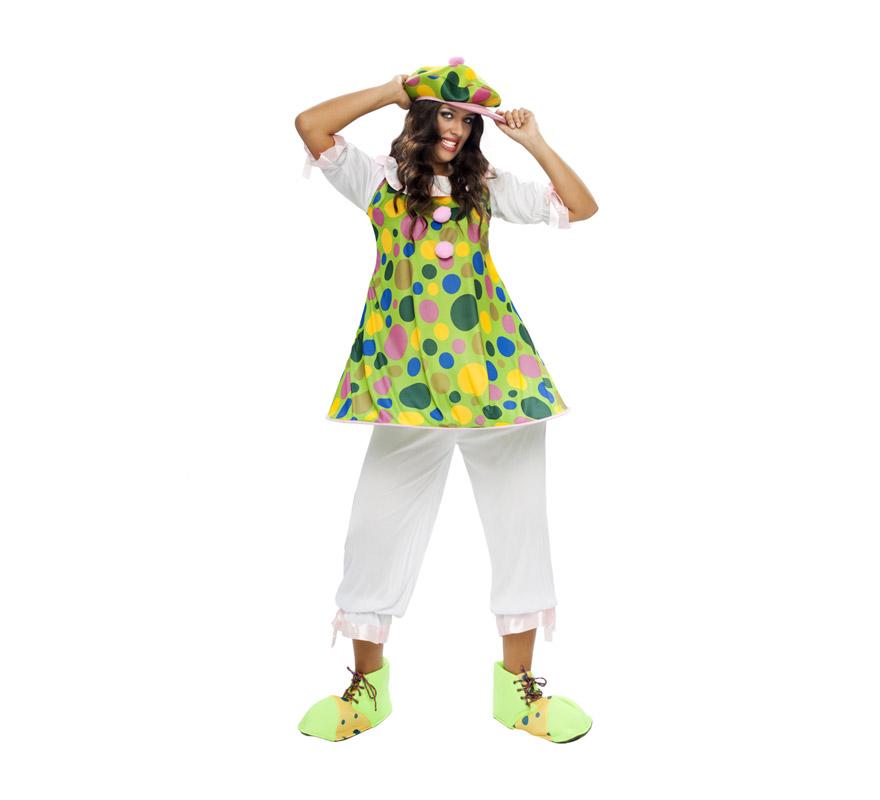 Disfraz de Payasa Aro adulta barato para mujer. Talla XL = 44/48. Incluye sombrero, camisa con aro y pantalón. Zapatones NO incluidos, podrás verlos en la sección de Complementos.