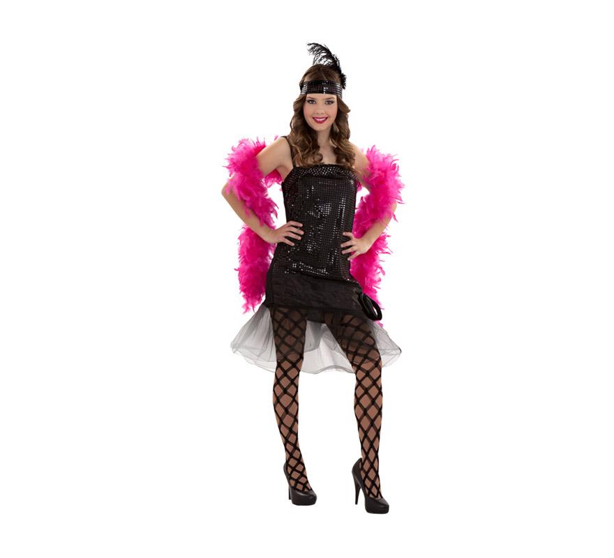 Disfraz barato de Cabaret para mujer. Talla S = 34/38, para adolescentes y para mujeres delgadas. Incluye vestido y tocado de la cabeza. Medias y boa NO incluidas podrás verlo en la sección de Complementos. Éste disfraz de Charlestón para chicas está muy bien de precio y es bonito.