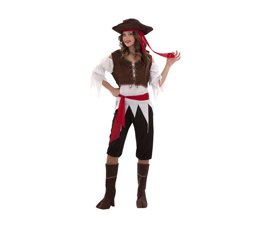 Disfraz barato de Pirata Caribeña para mujer. Talla S = 34/38, para chicas de 14 a 16 años y para mujeres delgadas. Incluye gorro, camisa, chaleco, cinturón, pantalón y cubrebotas. Trabuco NO incluido, podrás verlo en la sección de Complementos.