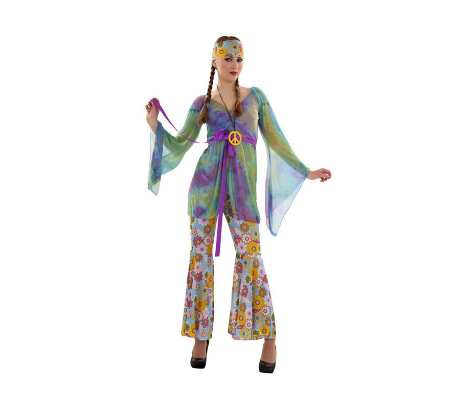 Disfraz barato de Hippie para mujer. Talla S = 34/38, para chicas de 14 a 16 años y para mujeres delgadas. Incluye blusa, collar símbolo de la Paz y pantalón. Pendientes NO incluidos. Paz y Amor.