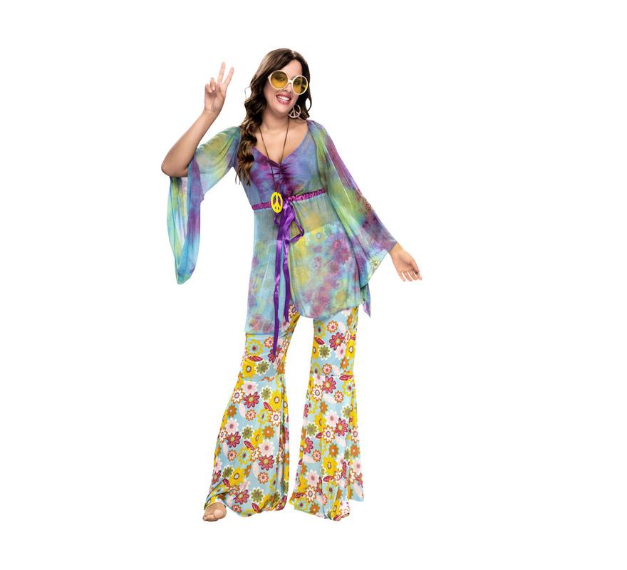 Disfraz barato de Hippie para mujer. Talla standar XL = 44/48. Incluye blusa, collar símbolo de la Paz y pantalón. Pendientes NO incluidos. Paz y Amor.