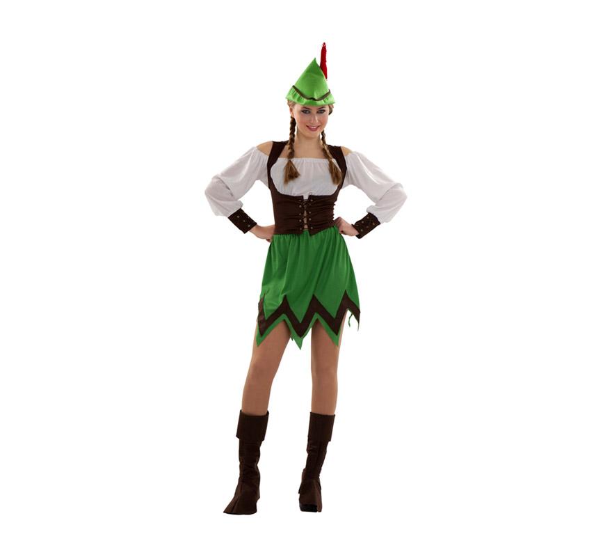 Disfraz barato de Robin Hood para mujer. Talla S = 34/38, para chicas de 14 a 16 años y para mujeres delgadas. Incluye sombrero, blusa, chaleco, falda y cubrebotas.