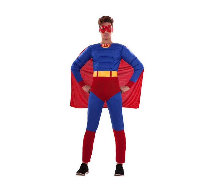 Disfraz barato de Héroe Musculoso adulto. Talla S = 48/52, para adolescentes y para hombres delgados. Incluye mono con relleno imitando músculos, cinturón, antifaz y capa. Para disfrazarte e ir igual que el mismísimo Superman.