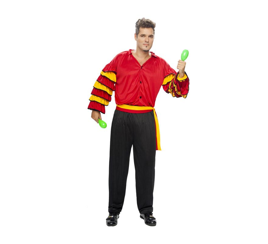 Disfraz de Bailaor Flamenco. Disfraz de Sevillano. Disfraz de Rumbero. Talla XL = 54/58. Incluye pantalones, camisa y fajín. Disfraz de Caribeño o Rumbero para hombre.
