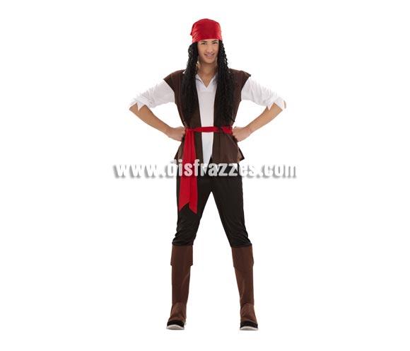 Disfraz de Pirata talla S para hombre. Talla S = 48/52 y para chicos de 14 a 16 años. Incluye turbante, camisa, cinturón, pantalón y cubrebotas. Peluca y trabuco NO incluidos, podrás encontrarlos en nuestra sección de Complementos.