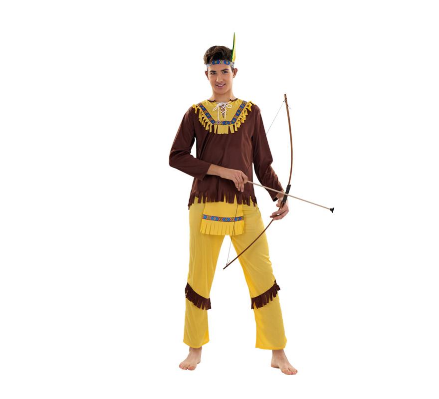 Disfraz de Indio Marrón para hombre. Talla S = 48/52, para hombres delgados y adolescentes. Incluye cinta cabeza, casaca, delantal y pantalones. Arco NO incluido, podrás verlo en la sección Complementos.