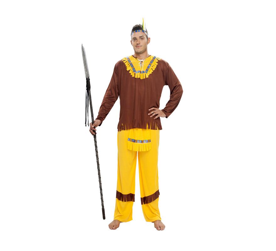 Disfraz de Indio Marrón para hombre. Talla XL = 54/58. Incluye cinta cabeza, casaca, delantal y pantalones. Lanza NO incluida, podrás verla en la sección Complementos.