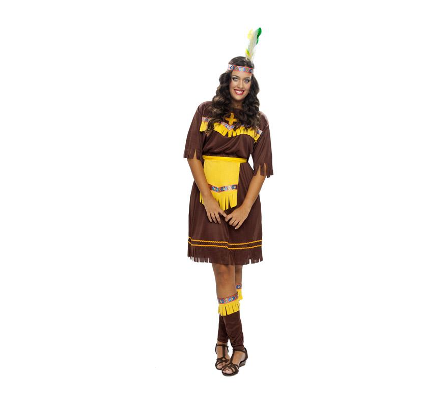 Disfraz de India Marrón adulta. Talla XL = 44/48. Incluye tocado, vestido, delantal y espinilleras.