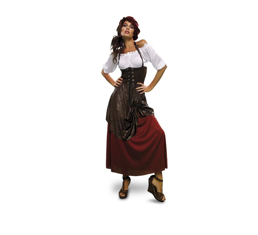 Disfraz de Tabernera, Posadera o Mesonera Medieval adulta. Talla S = 34/38, para chicas de 14 a 16 años y para mujeres delgadas. Incluye vestido con chaleco cosido y sombrero. Disfraz de Posadera para mujer.