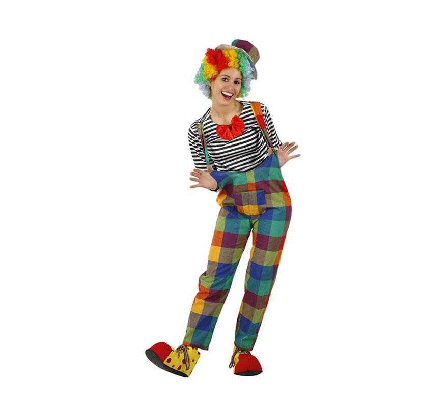 Disfraz de Payasa cuadros para mujer. Talla 1 ó talla S = 34/38 para chicas delgadas y adolescentes. Incluye camiseta, pantalón y gorro. Peluca y zapatones NO incluidos, podrás verlos en la sección Complementos.