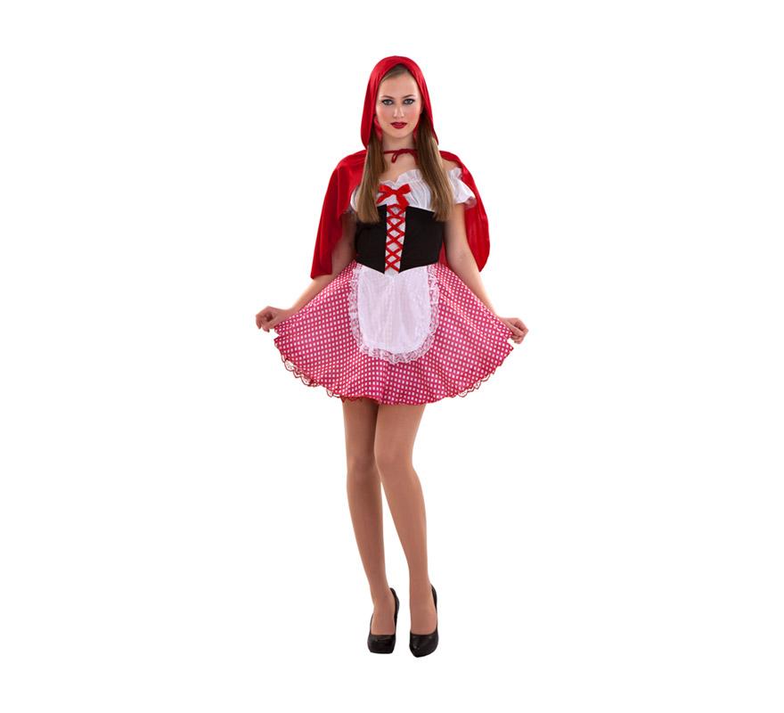 Disfraz de Caperucita Sexy adulta. Talla standar S = 34/38 para chicas delgadas y adolescentes. Incluye vestido, delantal y capa con capucha. Cesta NO incluida.