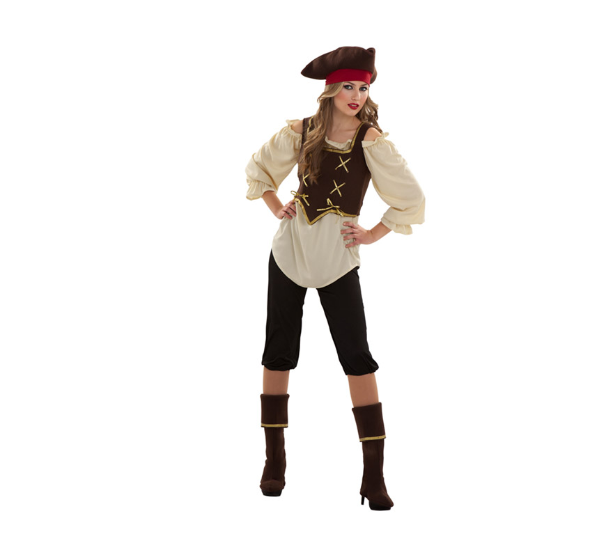 Disfraz barato de Pirata para mujer. Talla S = 34/38, para adolescentes y para mujeres delgadas. Incluye sombrero, blusa corpiño, pantalón y cubrebotas.