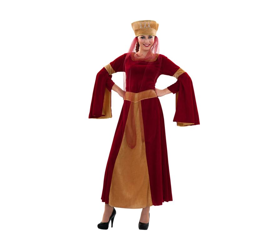 Disfraz barato de Lady Ginebra adulta económico. Talla S = 34/38. Es perfecto para chicas de 16 a 18 años. IIncluye vestido y tocado con tul. Un disfraz ideal para Fiestas Medievales.