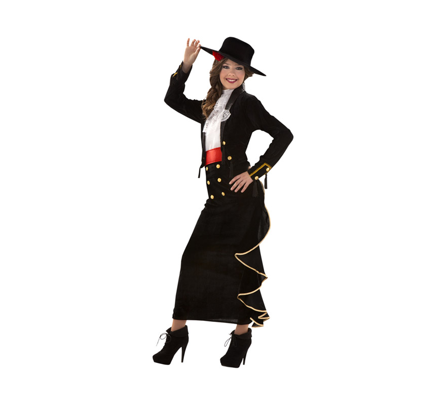 Disfraz de Cordobesa Sexy para mujer. Talla S = 34/38, para adolescentes y para mujeres delgadas. Incluye sombrero con flor, camisa, pecherín, chaqueta, fajín y falda.