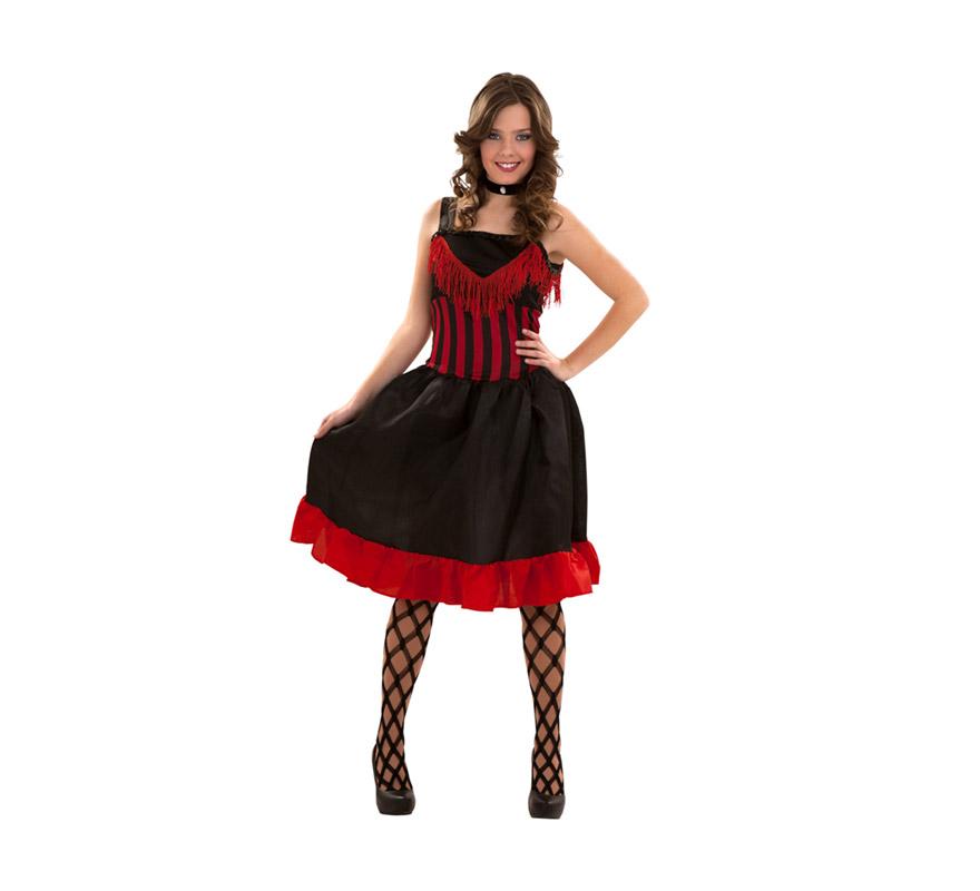 Disfraz muy barato de Can-Can para mujer. Talla S = 34/38, para adolescentes y para mujeres delgadas. Incluye vestido. También disfraz de mujer de bar del oeste o cabaretera.