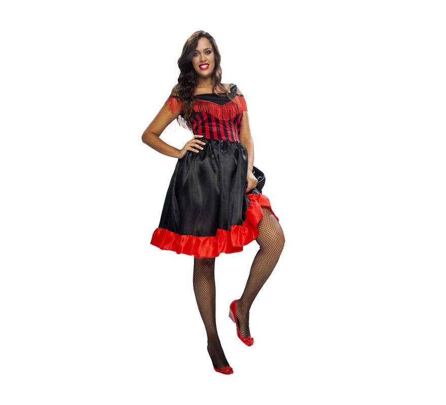 Disfraz muy barato de Can-Can para mujer. Talla XL = 44/48. Incluye vestido. También disfraz de mujer de bar del oeste o cabaretera.