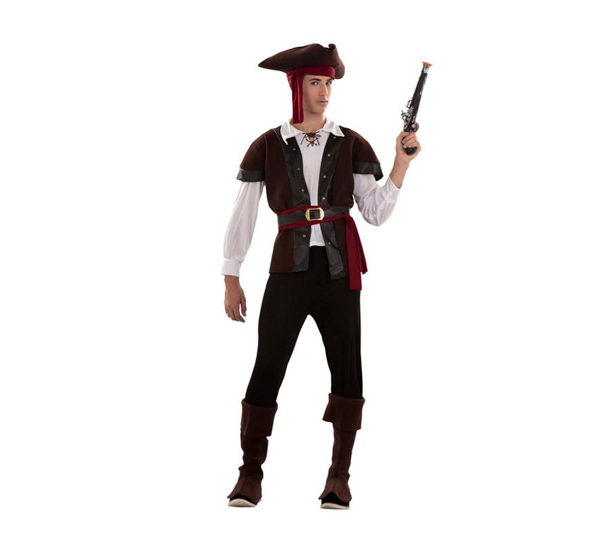 Disfraz de Bucanero para hombre. Talla standar S = 48/52 y para chicos de 14 a 16 años. Incluye sombrero con pañuelo, camisa, chaleco, cinturones, pantalón y cubrebotas. Parche y pistolas NO incluidos, podrás verlos en la sección Comlementos.