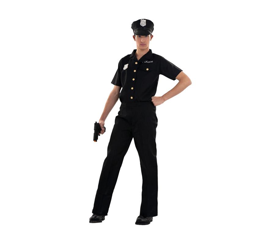 Disfraz barato de Policía para hombre. Talla S = 48/52 para chicos de 14 a 16 años y hombres delgados. Incluye gorra, camisa y pantalón.