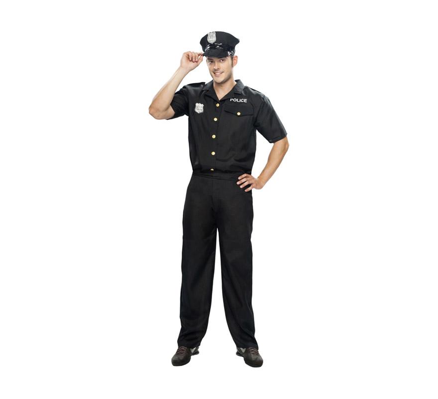 Disfraz barato de Policía para hombre. Talla XL = 54/58. Incluye gorra, camisa y pantalón.