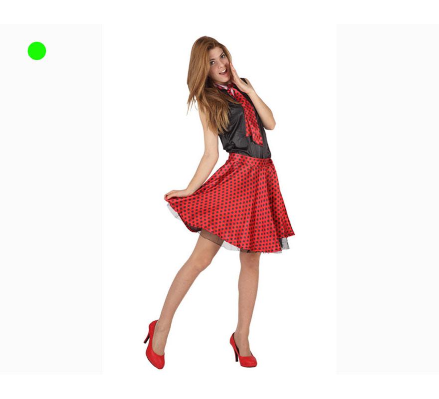 Disfraz de Chica de los Años 50 rojo para mujer. Talla 2 ó talla Standar XL = 44/48. También serviría como disfraz de Chica rockera de los años 50. Incluye disfraz completo.
