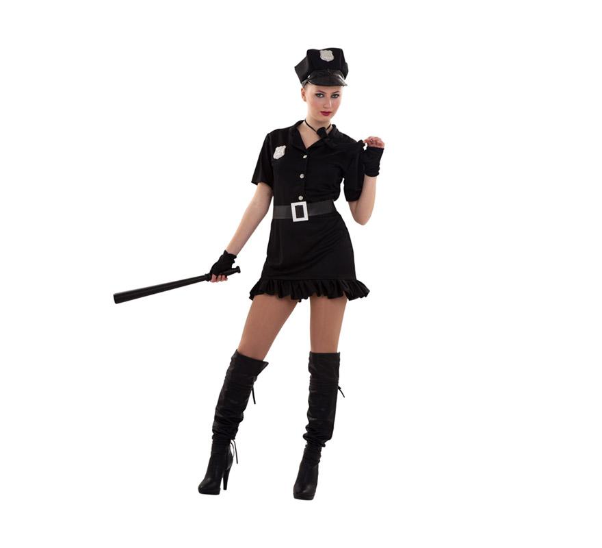 Disfraz barato de Policía Sexy para chicas. Talla S = 34/38, para adolescentes y para mujeres delgadas. Incluye gorra, vestido, cinturón, corbata y guantes o mitones.