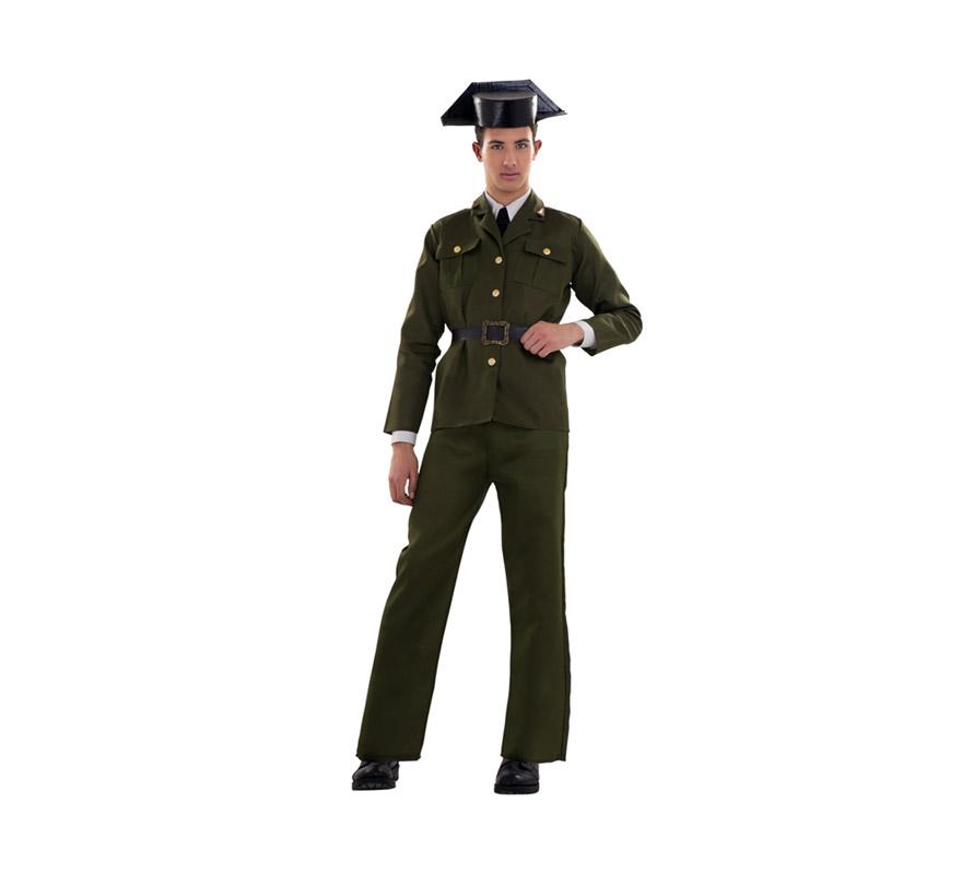 Disfraz barato de Guardia Civil para chicos. Talla S = 48/52 para hombres delgados y para adolescentes. Incluye Tricornio, chaqueta, cinturón y pantalones. ¡¡¡Cuidado con la Benemérita!!!
