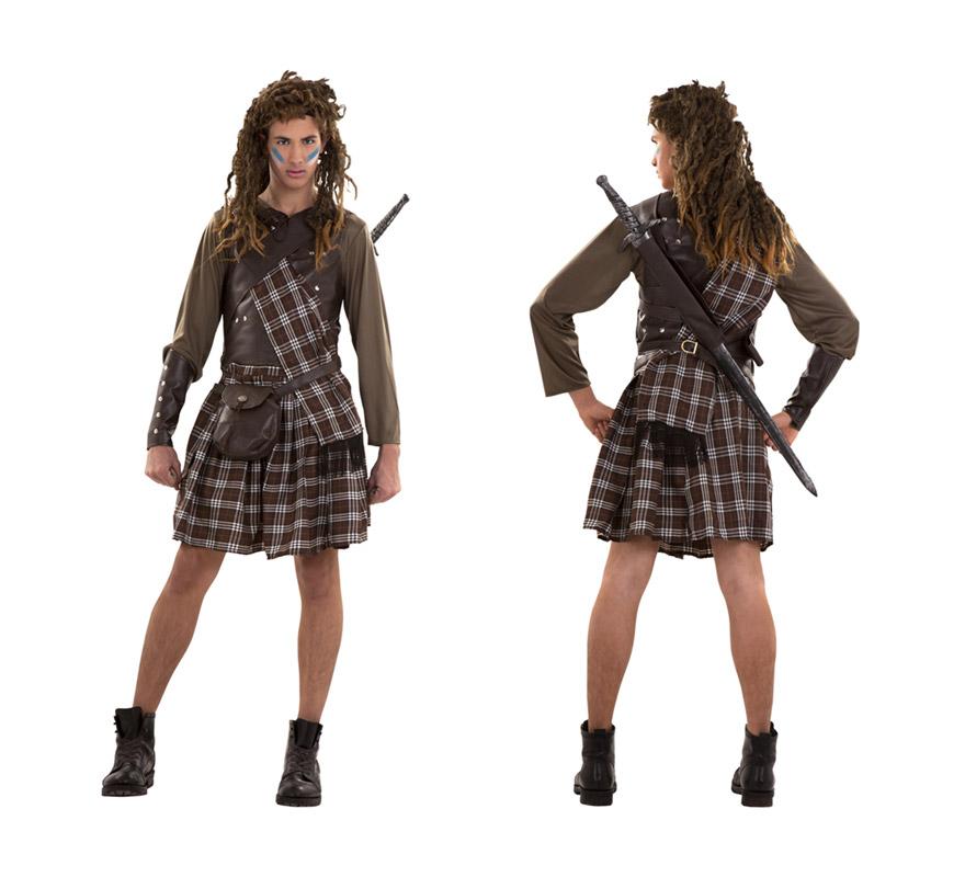Disfraz barato de Guerrero Escocés. Talla S = 48/52 ideal para adolescentes y para chicos delgados. Disfraz de Braveheart. Incluye camisa, falda, manto, coraza, bandolera, muñequeras y cinturón-bolsa. Peluca y espada NO incluidas, podrás verlas en la sección Complementos. Botas NO incluidas. Un disfraz Medieval de Guerrero ideal para hombres de talla S o para adolescentes.