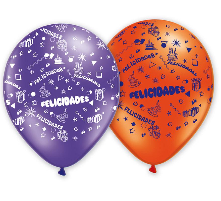 Bolsa de 50 Globos de 29 cm Ø de colores variados. Impresión FELICIDADES. Marca Gran Festival. Perfectos para decorar cualquier tipo de Fiesta.