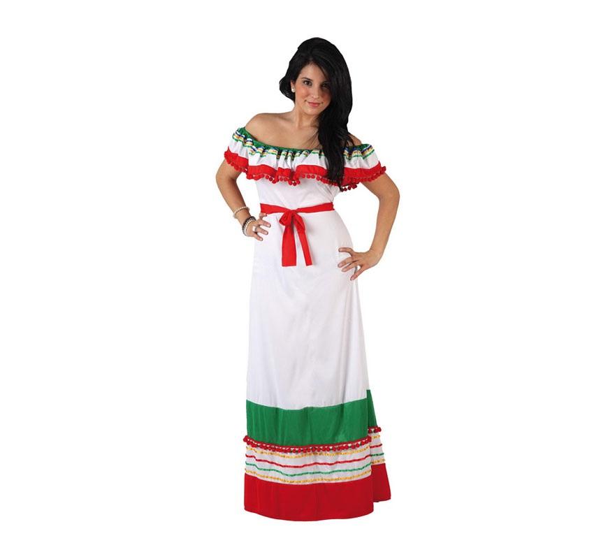 Disfraz de Mejicana para mujer. Talla 3 ó talla XL 44/48. Incluye vestido.