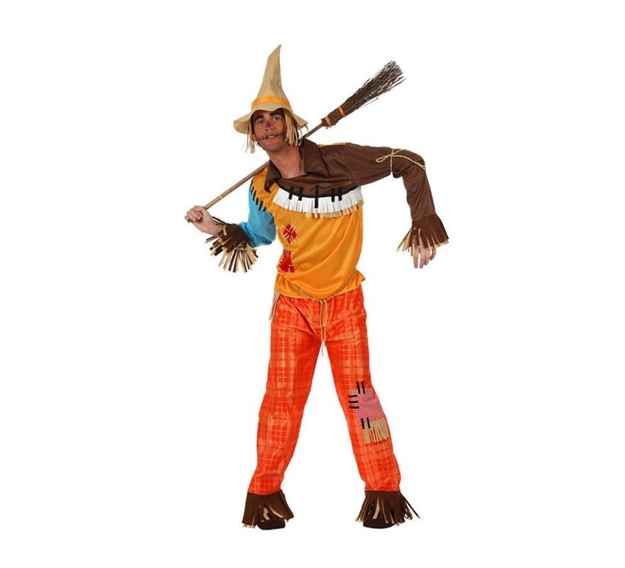 Disfraz de Espantapájaros para hombre. Talla 3 ó XL 54/58. Incluye pantalón, camisa y gorro. Escoba NO incluida, podrás verla en la sección de Complementos. Perfecto también para disfrazarse de la película El Mago de Oz junto con los demás personajes.