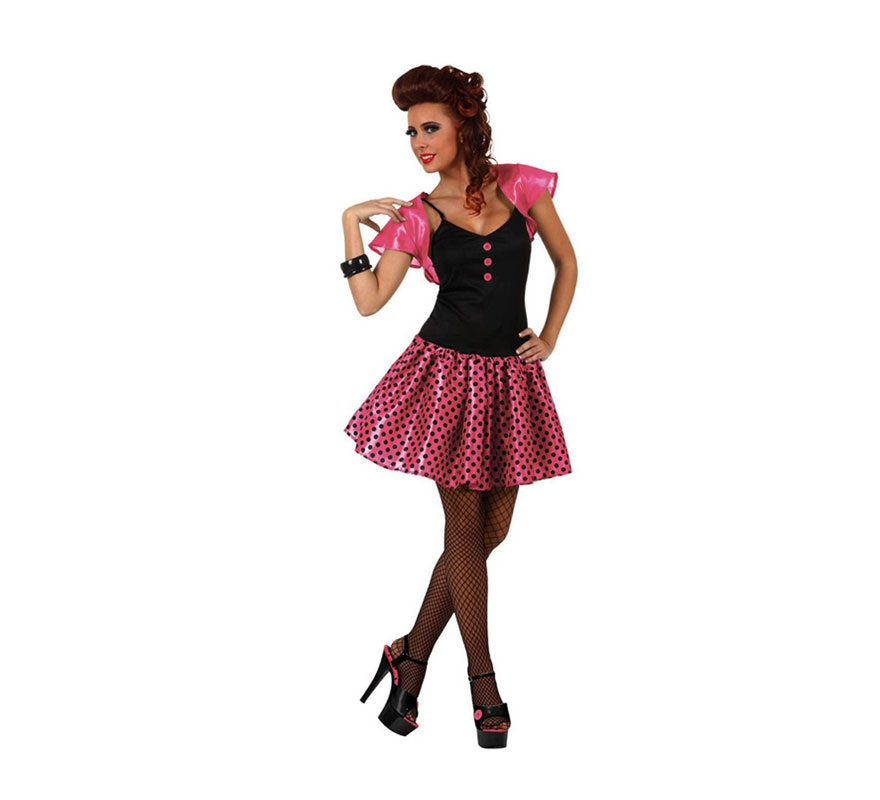 Disfraz de Chica de los años 60 rosa para mujer. Talla 1 ó talla S 34/38 para chicas delgadas y para adolescentes. Incluye vestido y torera.