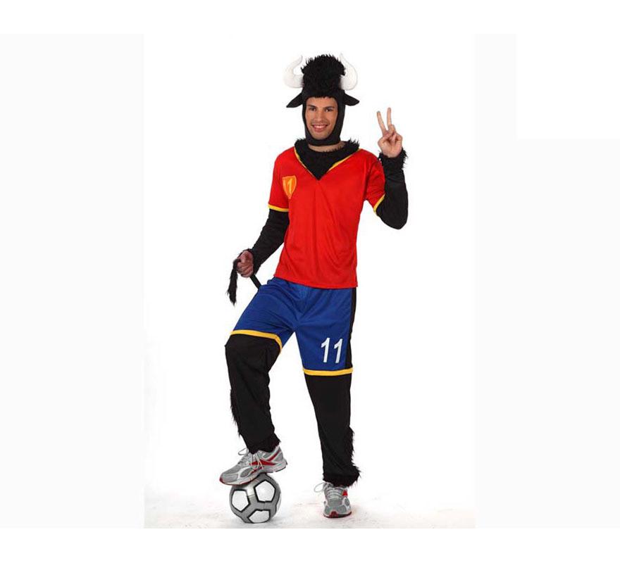 Disfraz de Toro Futbolista de la Selección Española para hombre. Talla XL = 54/58. El disfraz perfecto para animar a nuestra Selección Española sobre todo en la Eurocopa y en el Mundial.
