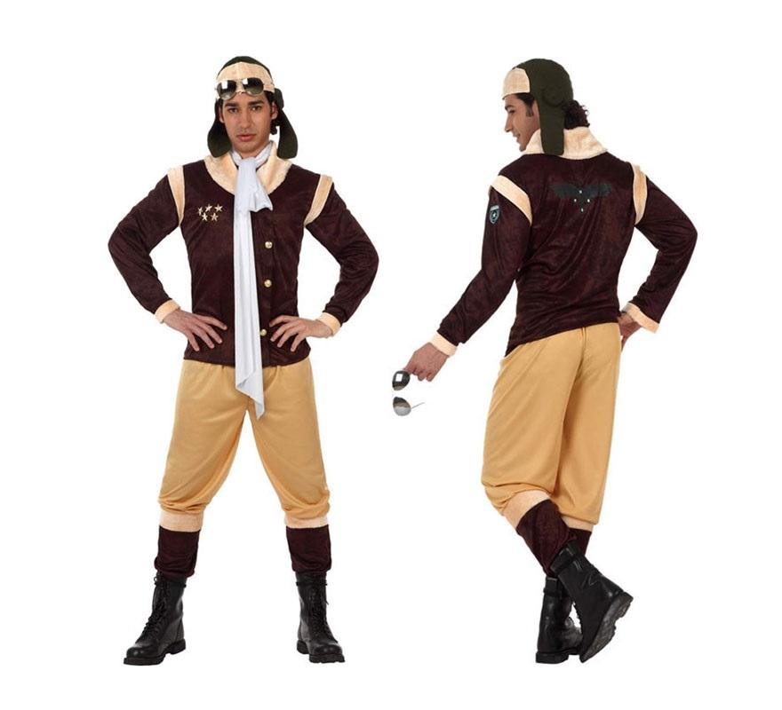 Disfraz de Aviador de Época o Aviador Antiguo para hombre. Talla XL 54/58. Incluye pantalón, camisa, pañuelo y gorro.