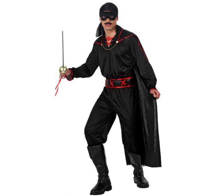 Disfraz de Bandido para hombre. Talla 1 ó talla S 48/52. Incluye pañuelo, camisa con capa, pantalón y cinturón. Resto de accesorios NO incluidos, podrás verlos en la sección de Complementos. Con éste disfraz podrás imitar al mismísimo Antonio Banderas en la película El Zorro.
