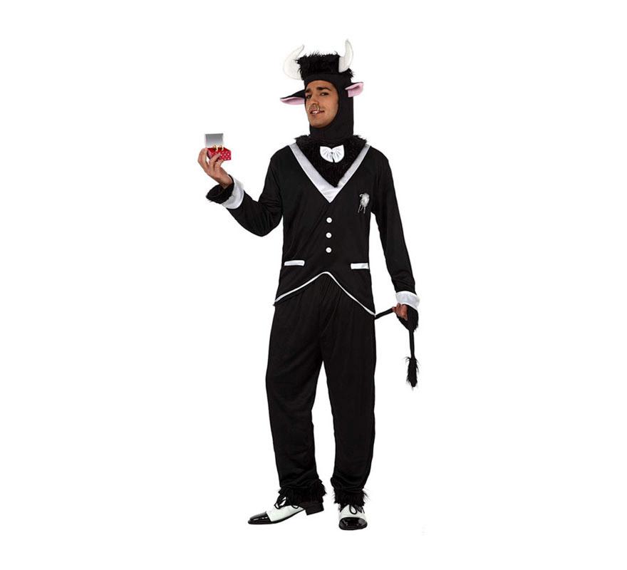 Disfraz de Toro Novio para hombre. Talla 3 ó talla XL 54/58. Incluye pantalón, camisa y capucha. Perfecto para reirse un rato en cualquier Despedida de Soltero.