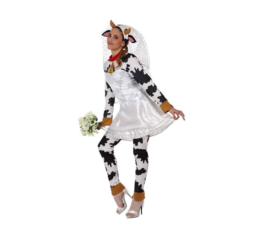 Disfraz de Vaca Novia para mujer. Talla XL 44/48. Incluye disfraz completo SIN el ramo. Éste disfraz es perfecto para Despedidas de Soltera.