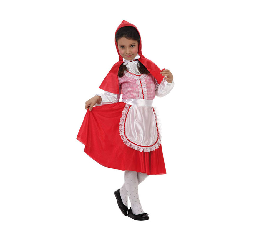 Disfraz barato de Caperucita Roja para niñas de 7 a 9 años. Incluye vestido, camisa, pañuelo y delantal. Medias y zapatos NO incluidos.