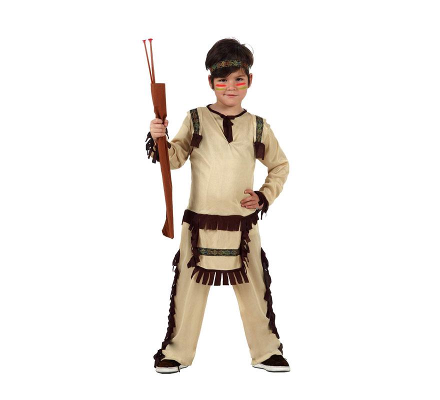 Disfraz de Indio para niños de 7 a 9 años. Incluye tocado, camiseta y pantalón. Hacha NO incluida, podrás encontrar hachas en la sección de Complementos.