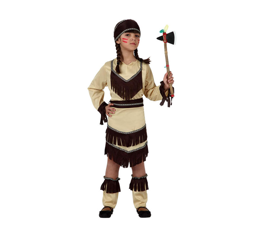 Disfraz de India para niñas de 7 a 9 años. Incluye tocado, vestido con cinturón y cubrebotas. Hacha NO incluida, podrás verla en la sección de Complementos.