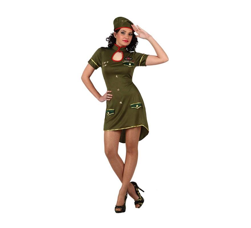 Disfraz de Chica Militar de alto mando para mujer. Talla XL 44/48. Incluye vestido y gorro.