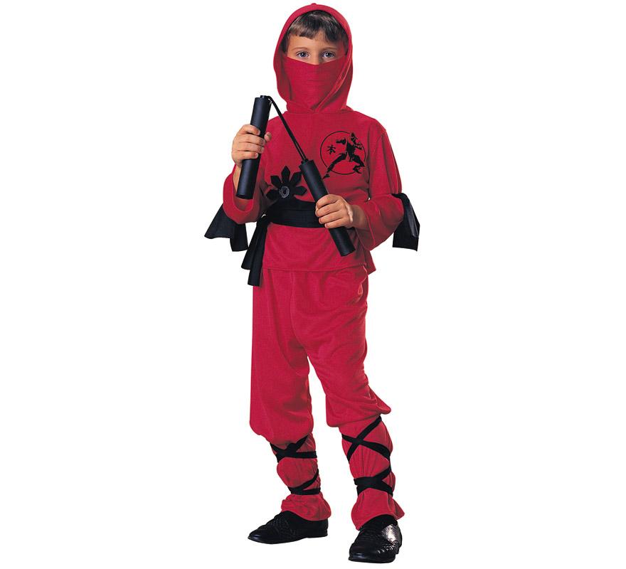 Disfraz de Ninja Rojo para niños de 8 a 10 años. Incluye pantalones, camisa con capucha, pañuelo, cinturón y bandas para las piernas y los brazos. NO incluye Luchacos podrás verlos en la sección Complementos. Disfraz que gusta mucho a los niños luchadores y es ideal para cualquier  fiesta y para carnaval.
