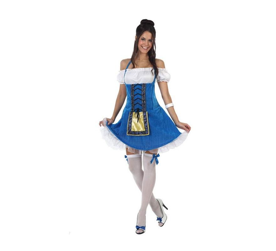 Disfraz de Alemana tradicional para mujer. Talla 3 ó talla XL 44/48. Incluye vestido y camisa. Éste disfraz también puede servir como disfraz de Tirolesa y es ideal para la Fiesta del Oktoberfest y San Patricio.