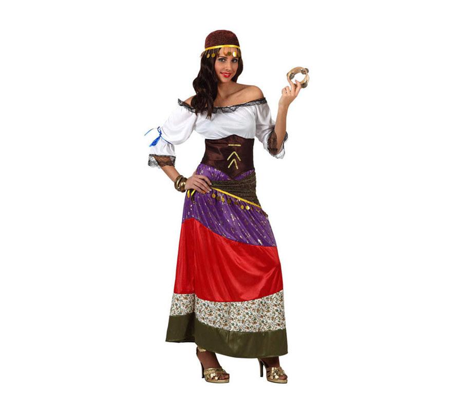 Disfraz de Zíngara o Gitana para mujer. Talla 3 ó talla XL 44/48. Incluye disfraz y cinta de la cabeza. Pandereta NO incluida, podrás ver algunos modelos en la sección de Complementos.