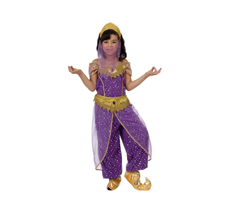 Disfraz de Bailarina Árabe para niñas de 7 a 9 años. Incluye pantalón, camisa y diadema con velo. Babuchas NO incluidas, podrás verlas en la sección de Complementos.