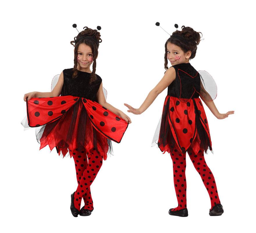 Disfraz de Mariquita para niñas de 5 a 6 años. Incluye vestido con alas de tela y diadema. Medias NO incluidas.