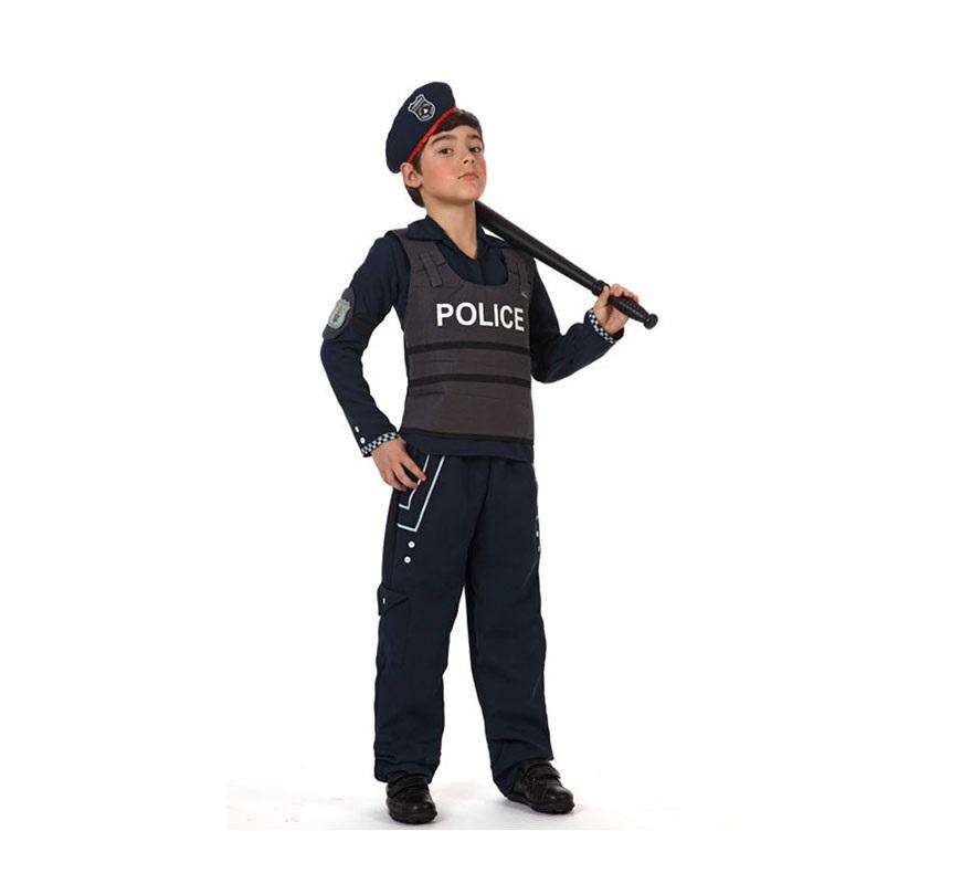Disfraz de Policía para niños de 10 a 12 años. Incluye disfraz completo SIN porra, la podrás ver en la sección de Complementos.