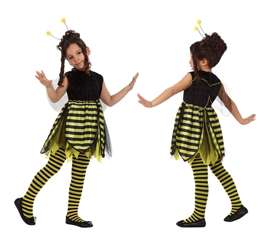 Disfraz de Abeja para niñas de 3 a 4 años. Incluye vestido con alas de tela y diadema. Medias NO incluidas.