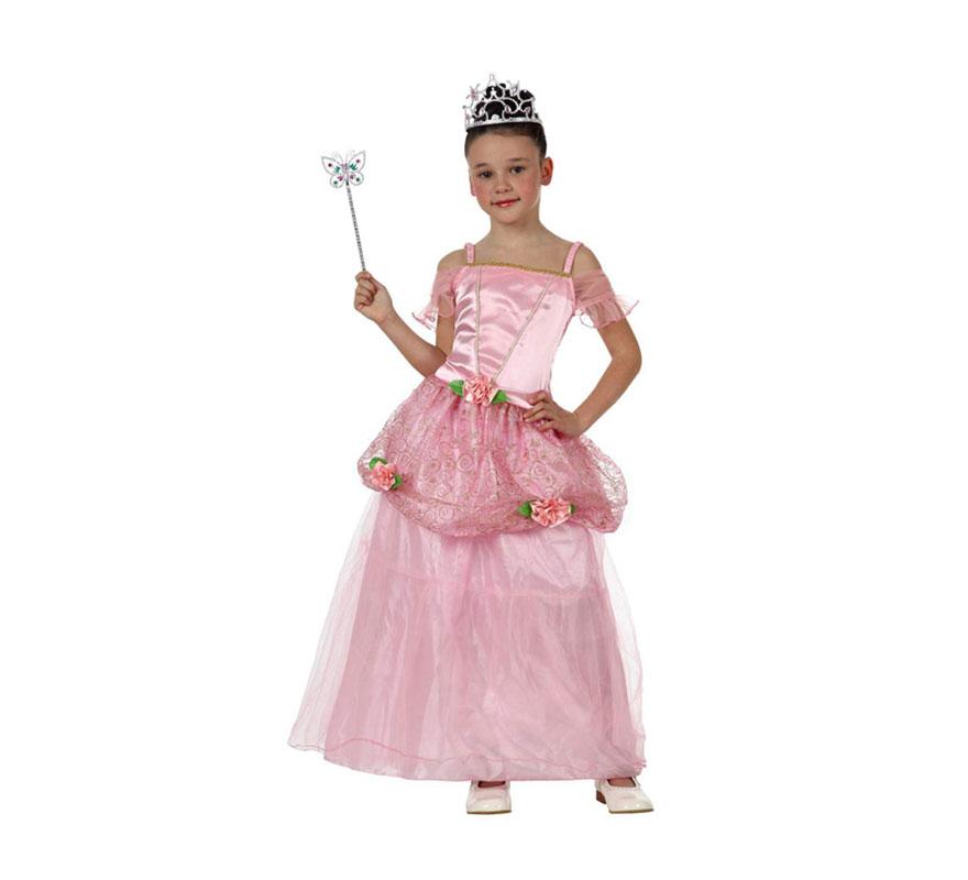 Disfraz de Princesa Rosa para niñas de 3 a 4 años. Incluye vestido. Corona, varita y zapatos NO incluidos. La corona y la varita las podrás ver en la sección de Complementos.