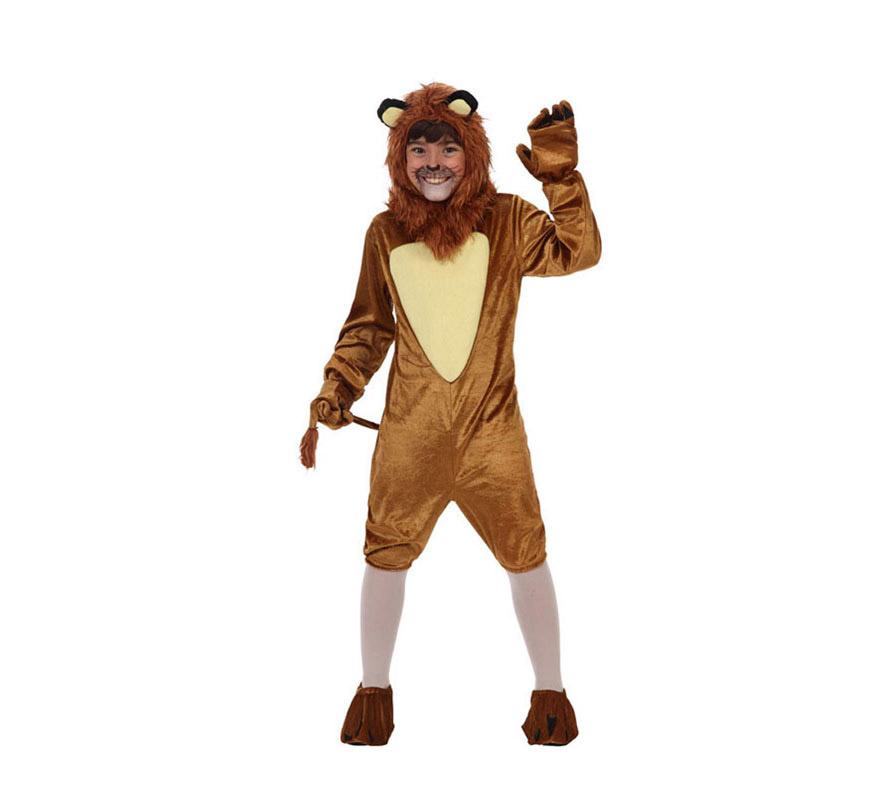 Disfraz de León para niños de 7 a 9 años. Incluye mono con rabo, capucha, cubrepies y guantes. Original disfraz para convertirte en el fantástico personaje del Mago de Oz y vivir múltiples aventuras junto a Dorothy.